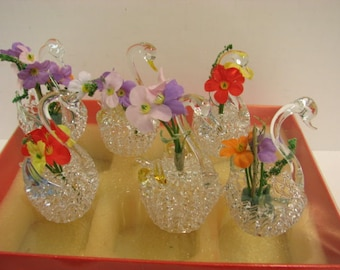 6 Glass Swans w/ Flowers in Box, Miniature Hand Made Vintage Swan Birds