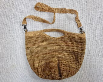 Crochet Bucket Shaped Shoulder Bag / Tote Bag -  Natural  Raffia from Madagascar