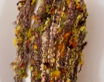 sale Scarf  Hand Spun Hand Knit Scarf brown  amber lime yellow merino wool mix merino mixed wool locks