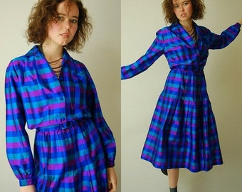 sale 25% off every sunday Geek Chic Secretary Dress Vintage Jewel Checkered Belted Pleated Preppy Indie Shirt Dress (m l)
