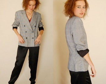 sale 25% rainy days sale Plaid Structured Blazer Vintage 80s Black + White Houndstooth Plaid Structured Androgynous Blazer Jacket  (m l)