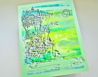 CLIFFHANGER #12 beach cityscape in California colors on mint green by Kathryn DiLego