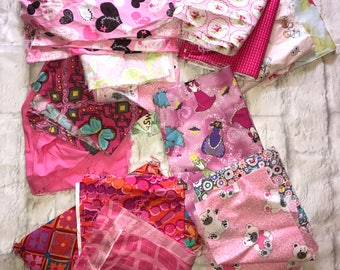 Fabric Bundle Pink Multicolored Bag #23