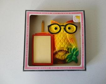 VINTAGE nos chalkware OWL memo pad HOLDER