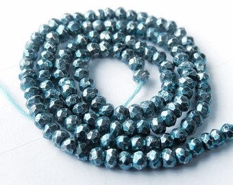 Pyrite Gemstone Rondelle. Semi Precious Gemstone. Teal Blue Faceted Rondelle. 3.5 mm. Strand Your Choice  (jpy).