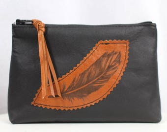 Etched Feather Black and Tan Leather Purse - Coin, Cosmetic, Wallet