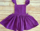 Susanna Romper in Purple or Red Corduroy - Valentine's Day dress, girls dress overalls, corduroy overall dress, modern girls clothing