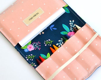 Floral Crayon Wallet, Birthday Gift for Girls, Navy Floral, 8 Crayons and Notepad Included, Kids Wedding Favor, Big Sister Gift