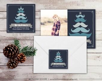 Christmas Tree Return Address Label: Square Label - Holiday Return Address Label - Mustache Christmas Label - Return Address Sticker - WH158