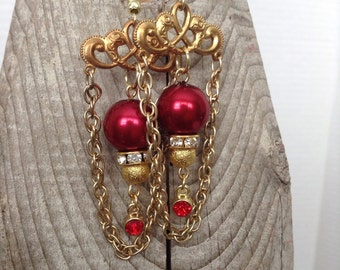Pretty red and filigree earrings
