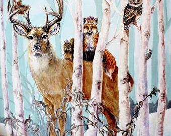 Wildlife art, Wildlife print, Deer in trees, Birch tree art, Fox with Crown, forest art, nursery wall art