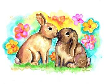 Bunny art, bunny print,  Bunnies kissing, Rabbit pair, Bunny art, nursery wall art, Rabbit print, Marias Ideas