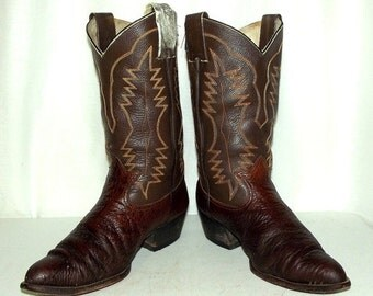 Distressed Two Tone Western Cowboy Boots -  mens size 10 D / womens 11.5