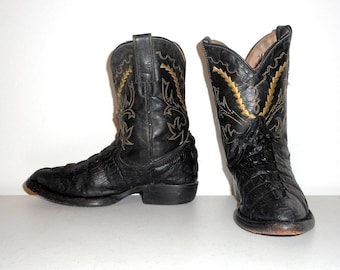 Kids Cowboy Boots Black Leather Youth Size 1 or 2 Alligator Crocodile Print