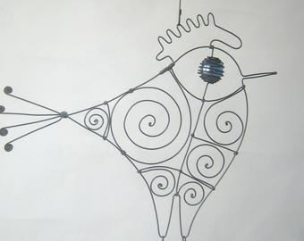 Wire Rooster Sculpture In Blue
