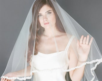 SALE Ivory Lace Veil, Bridal Veil, Wedding Veil, Finger Tip Veil, Tulle Drop Veil, Lace Bridal Veil, Double Layer Veil, 1720