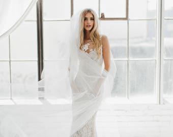 Cathedral Wedding Veil, Bridal Veil, Long Veil, Fingertip Length Veil, Tulle Veil, Blush Veil, Gray Veil, Chapel Veil, Ivory Veil 0802