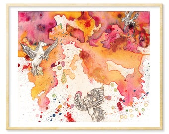 Unicorn Wall Art, Unicorn Nursery, Pegacorn, Horse Watercolor, Her Abstract Gift Art, Abstract Print, Radiant Orchid Art, 11 x 14, Pink