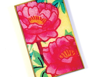 Hibiscus decoupage glass catch-all tray