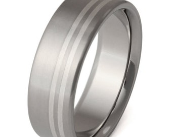 Silver Titanium Wedding Ring - Silver Inlay Band - sv3