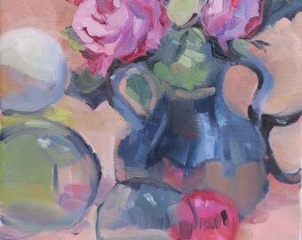 Roses.....an original oil painting by South Carolina artist Linda Hunt...WET...WET...WET