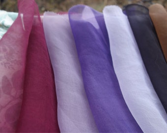 "Organza Silk Fabric 9 Pieces Walnut Logwood Lac Dye Sheer Natural Plant Dye 9"" x 10"" to 14"" x 14"" Art Silk Lavender Maroon Purple Brown Silk"