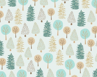 Pastel Woodland Forest Fabric - Forest Trees By Biancapozzi - Bianca Pozzi Cotton Fabric By The Yard With Spoonflower
