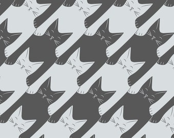 Houndstooth Kitties Fabric - Cats-Tooth In Grey Blue By Eleventy-Five - Hipster Houndstooth Cats Cotton Fabric By The Yard With Spoonflower