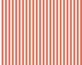 Beach Stripe Fabric - Orange Then White Striped By Sovendebjorn - Summer Beach Stripes Cotton Fabric By The Yard With Spoonflower