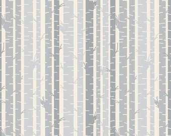 Gray Forest Fabric - Woodland Birch And Twig By Googoodoll - Woodland Nursery Decor Cotton Fabric By The Yard With Spoonflower