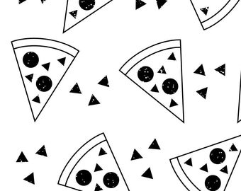 Black and White Pizza Fabric - Geo Pizza Black And White By Tramake - Pizza Kitchen Decor Cotton Fabric By The Yard With Spoonflower