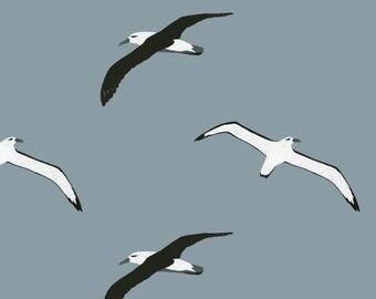 Flying Albatross Fabric - Flying Albatross Pattern By Melissa Boardman - Watercolor Albatross Cotton Fabric By The Yard With Spoonflower