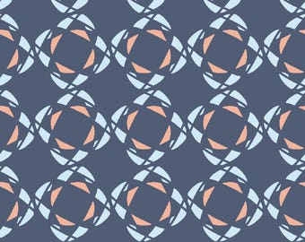 Square Abstract Fabric - Squares By Myvisualmark - Navy Blue Coral Pink Abstract Geometric Shapes Cotton Fabric By The Yard With Spoonflower