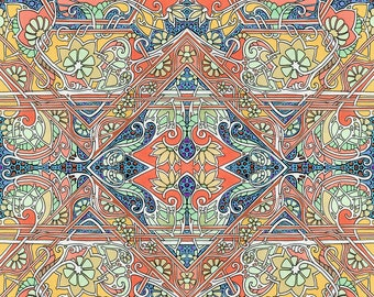 Ornate Fabric - Time To Harvest The Paisley Crop By Edsel2084 - Art Nouveau Coral Navy Vintage Cotton Fabric By The Yard With Spoonflower