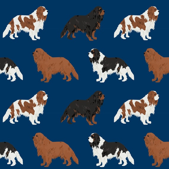 Navy Blue Dog Fabric - Cavalier King Charles Spaniel Ruby Black Tan Blemein Coat By Petfriendly - Cotton Fabric By The Yard With Spoonflower[Spoonflower/Etsy]