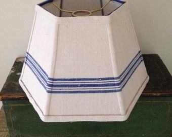 """French Stripe Lamp Shade, Uno Lampshade Upcycled Vintage Towel, Standard Size 7""""top x 12"""" bottom x 8""""high, Nautical Style, Farmhouse Look"""