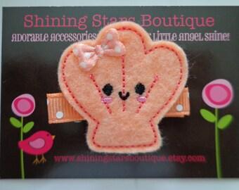 Girls Hair Accessories - Peach Happy Clam Shell Embroidered Felt Hair Clip - Summer, Beach, Ocean Or Under The Sea