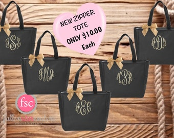 Bridesmaid Tote Bags , Bachelorette Party Tote Bags , Zipper Tote Bags , Bridal Party Gift Bags, Wedding Welcome Bags , Wholesale Tote Bags