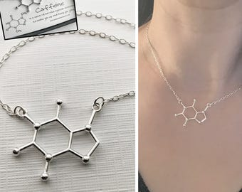 Sterling Silver Caffeine Necklace - Caffeine Molecule, Science Jewellery, Chemistry Jewellery