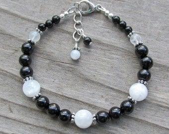 Moonstone Black Tourmaline Onyx Silver Elegant Natural Gemstone Healing Bracelet
