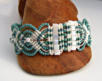 White, Turquoise, and Green Macrame Bracelet - Micro Macrame Leaves Bracelet - Turquoise Bracelet - Boho Bracelet - Macrame Jewelry