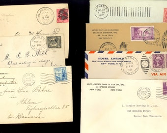 13 New York Stamp Covers Ziegler Brewing Hotel Lincoln Naples McGrawville Lot W76