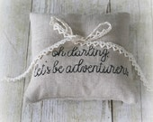 Custom Quote Embroidery Petite Linen Ring Bearer Pillow - Choose Your Colors, Two Sizes