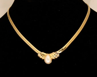 Vintage Art Deco Pearl Necklace Choker Flat Serpentine Necklace Signed Marvella Wedding Prom Formal