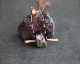 ON SALE Druzy Stone Arch Pendant Necklace Tribal Boho Rustic Copper Rivet Metalwork Long Distressed Titanium Quartz Boho Jewellery