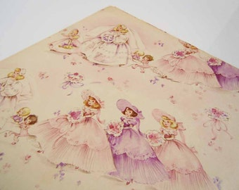 Vintage Bridal Shower Wrapping Paper | Purple and Pink Gift Wrap Paper | Mid Century Brides and Bridesmaids