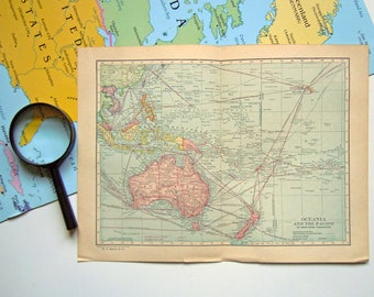 Vintage 1921 Map of Australia and Oceania and the Pacific