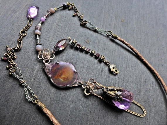 "Purple assemblage necklace with amethyst and vintage chain-  ""Sigh No More"""