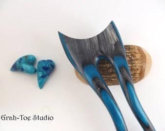 Hair Fork, Hairforks, Wood Hair Fork, Dark Aqua Spectraply Wood ,Skinny Jeans,Mini Lili Mermaids Tail Grahtoe Studio,Man bun,Hair Sticks