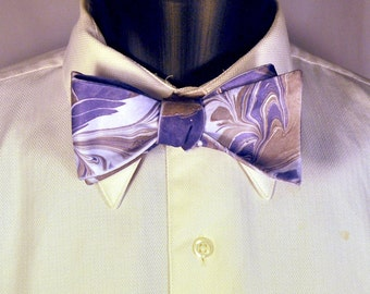 Striped Formal Bow Tie With Purple and Bronze Colors Made in Asheville, NC MM-#15-30